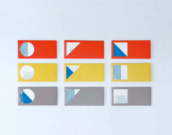 Set of  3 Geometric Window Envelopes with Cards