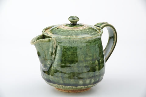 Oribe Green Teapot and Pair of Cups Set by Fudogama