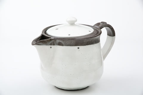 Kohiki Teapot with Two Cups Set by Fudogama