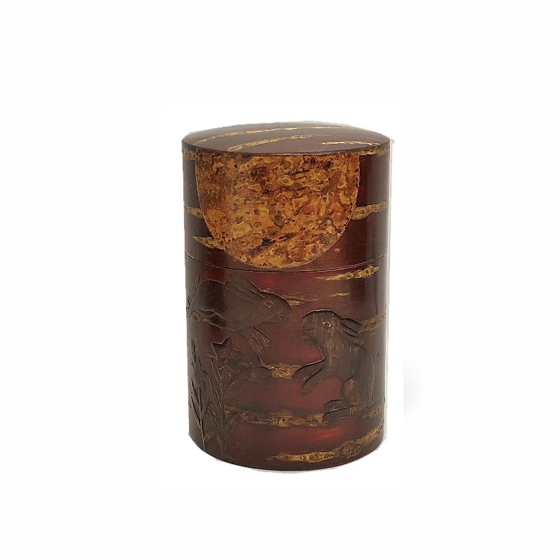 Rabbits and Moon Cherry Bark Tea Canister