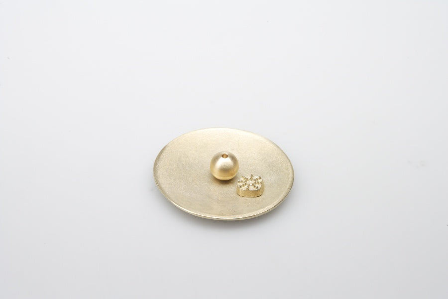 Round Brass Incense Stand Set
