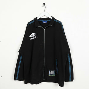 Vintage UMBRO Small Spell Out Tape Arm Zip Up Fleece Sweatshirt Black | Large L