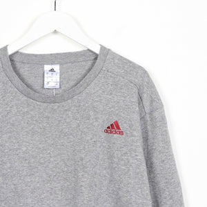 Vintage ADIDAS Small Logo Sweatshirt Jumper Grey | XL