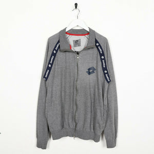 Vintage 90s LOTTO Small Logo Zip Up Sweatshirt Jumper Grey Large L