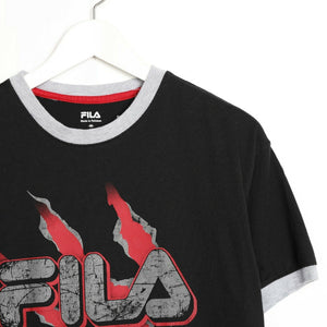 Vintage FILA Big Graphic Logo T Shirt Tee Black Medium M