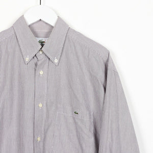 Vintage LACOSTE Small Logo Striped Long Sleeve Shirt Grey Purple | Medium M