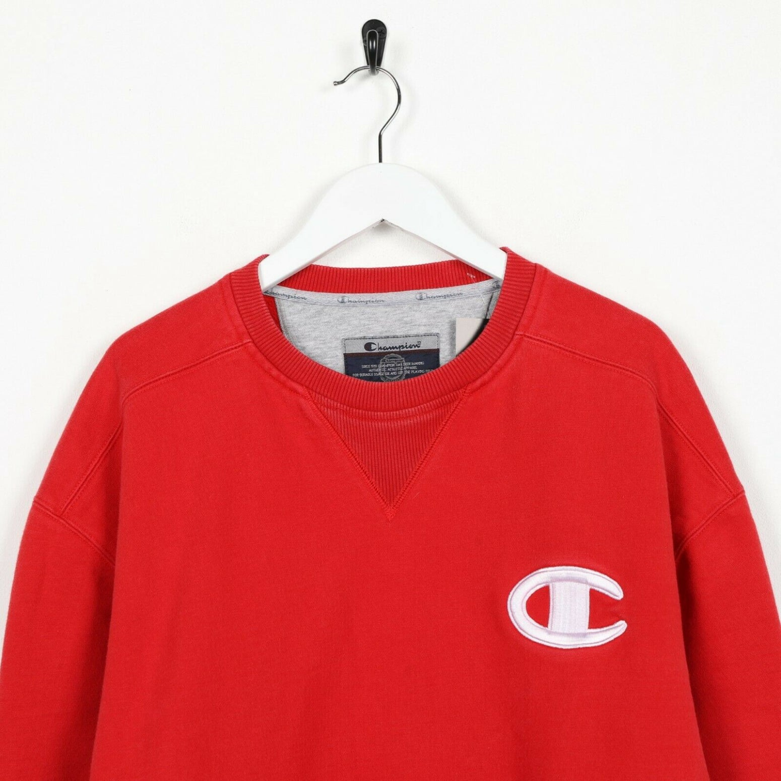 Vintage CHAMPION Small Logo Hoodie Sweatshirt Red Large L