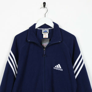 Vintage 90s ADIDAS Small Logo Zip Up Fleece Top Blue | Small S