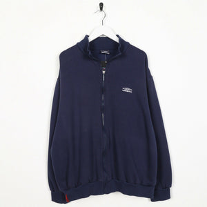 Vintage UMBRO Small Logo Zip Up Sweatshirt Jumper Navy Blue | 2XL
