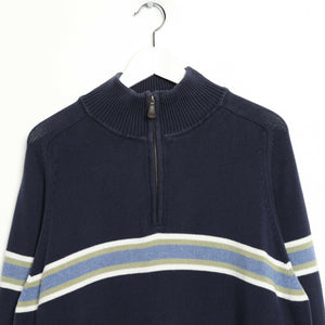 Vintage TOMMY HILFIGER Small Logo 1/4 Zip Sweatshirt Jumper Navy Blue | XL