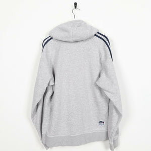 Vintage ADIDAS ORIGINALS Small Logo Button Neck Hoodie Sweatshirt Grey | Medium
