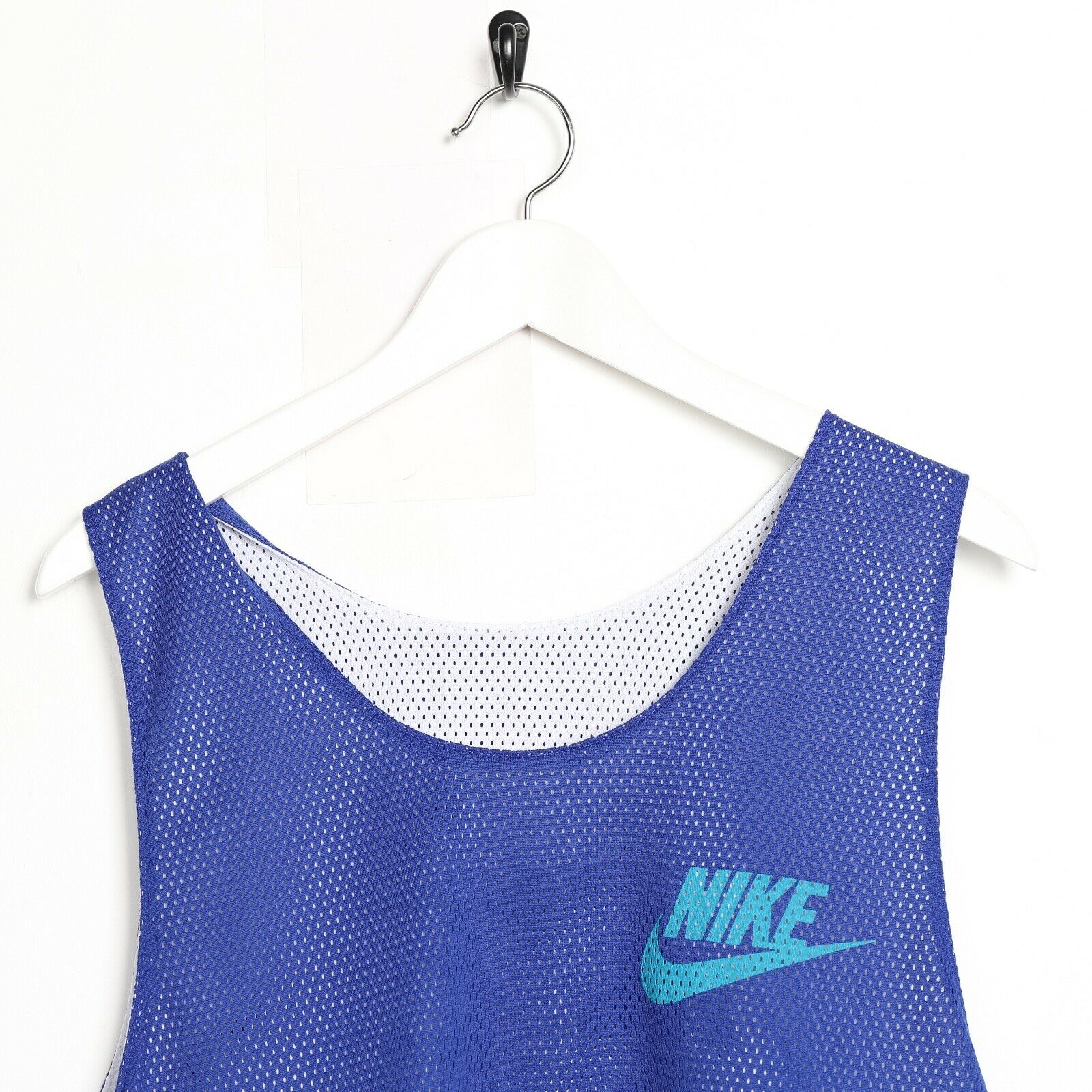 Vintage NIKE Reversible Big Spell Out Mesh Vest White Blue | Medium M