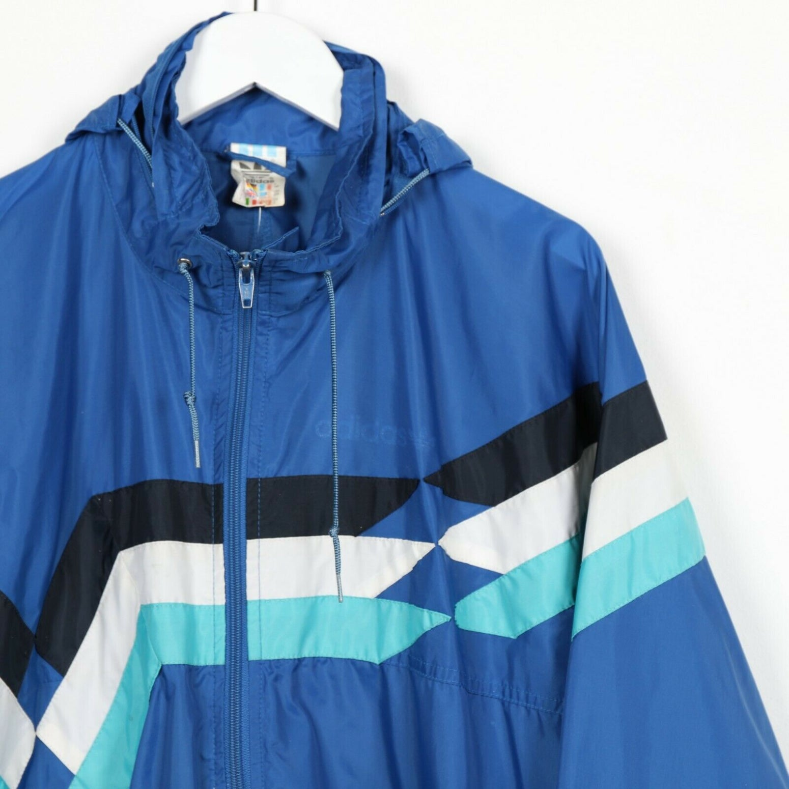 Vintage 90s ADIDAS Small Logo Soft Shell Windbreaker Jacket Blue | XL
