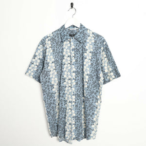 Vintage 90s ABSTRACT HAWAIIAN Short Sleeve Festival Party Shirt Blue | Small S