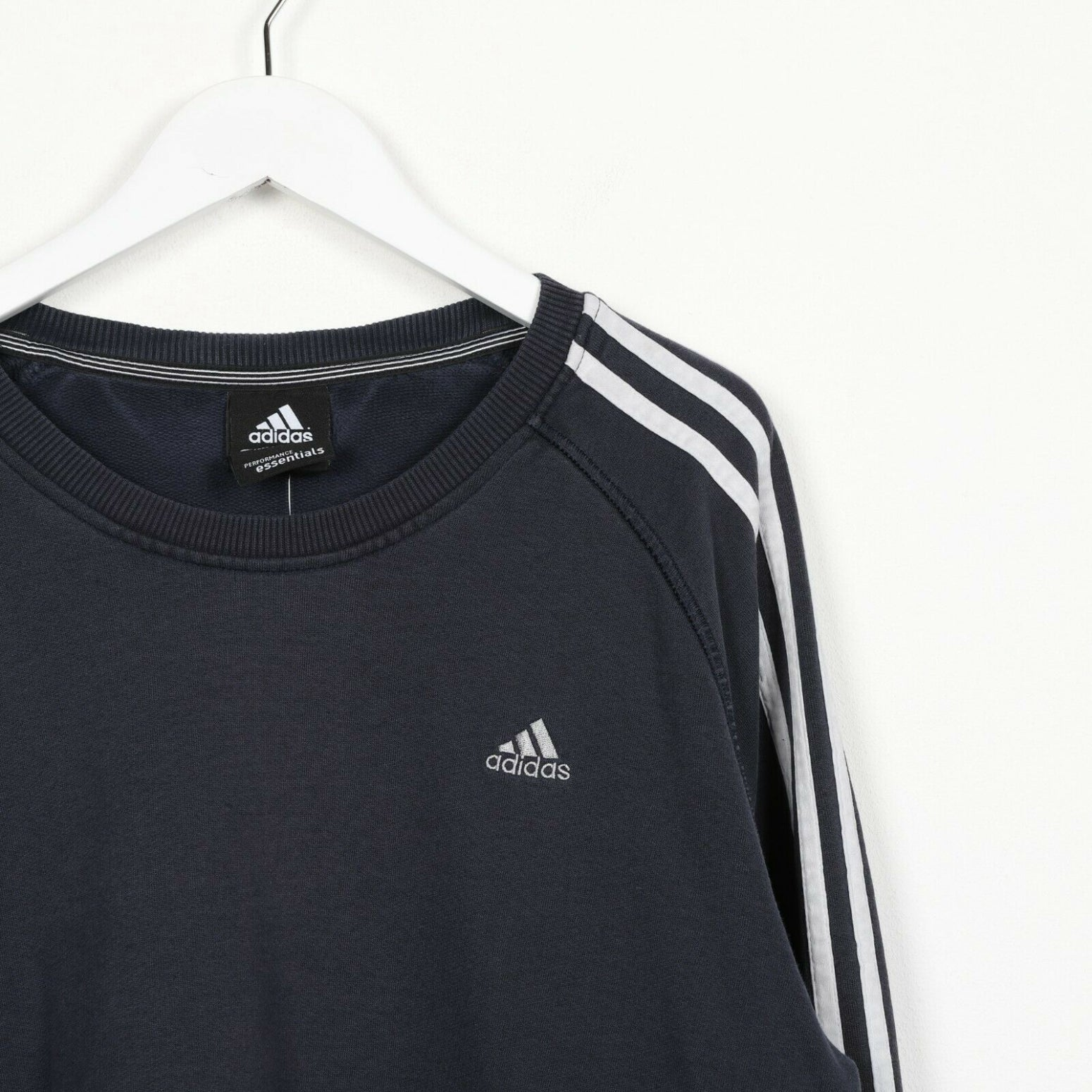 Vintage ADIDAS Small Logo Sweatshirt Jumper Navy Blue | XL
