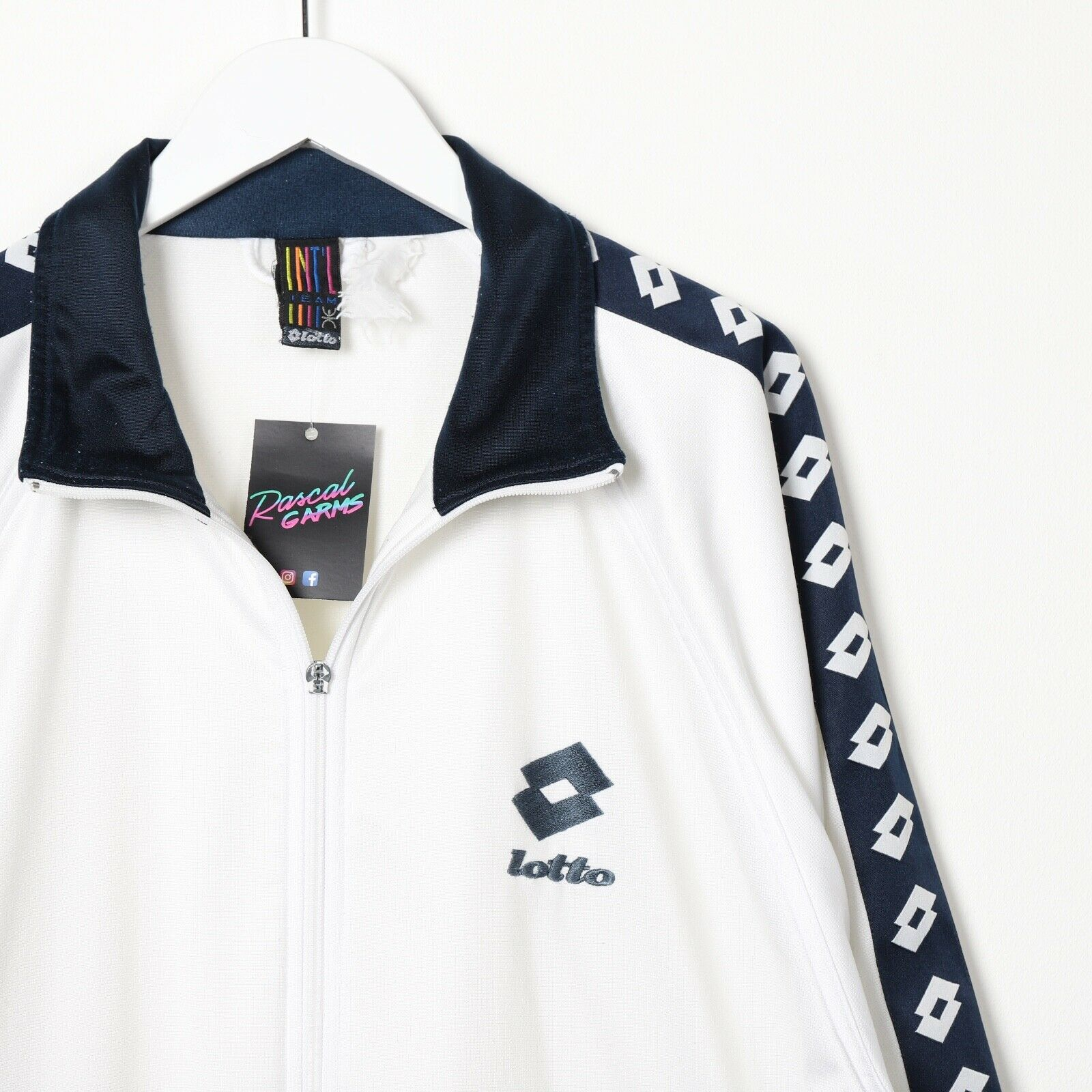 Vintage LOTTO Small Logo Tape Arm Track Top Jacket White Navy Blue XL