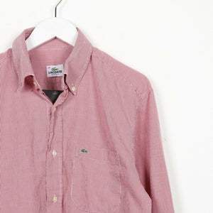 Vintage LACOSTE Small Logo Long Sleeve Shirt Red Medium M