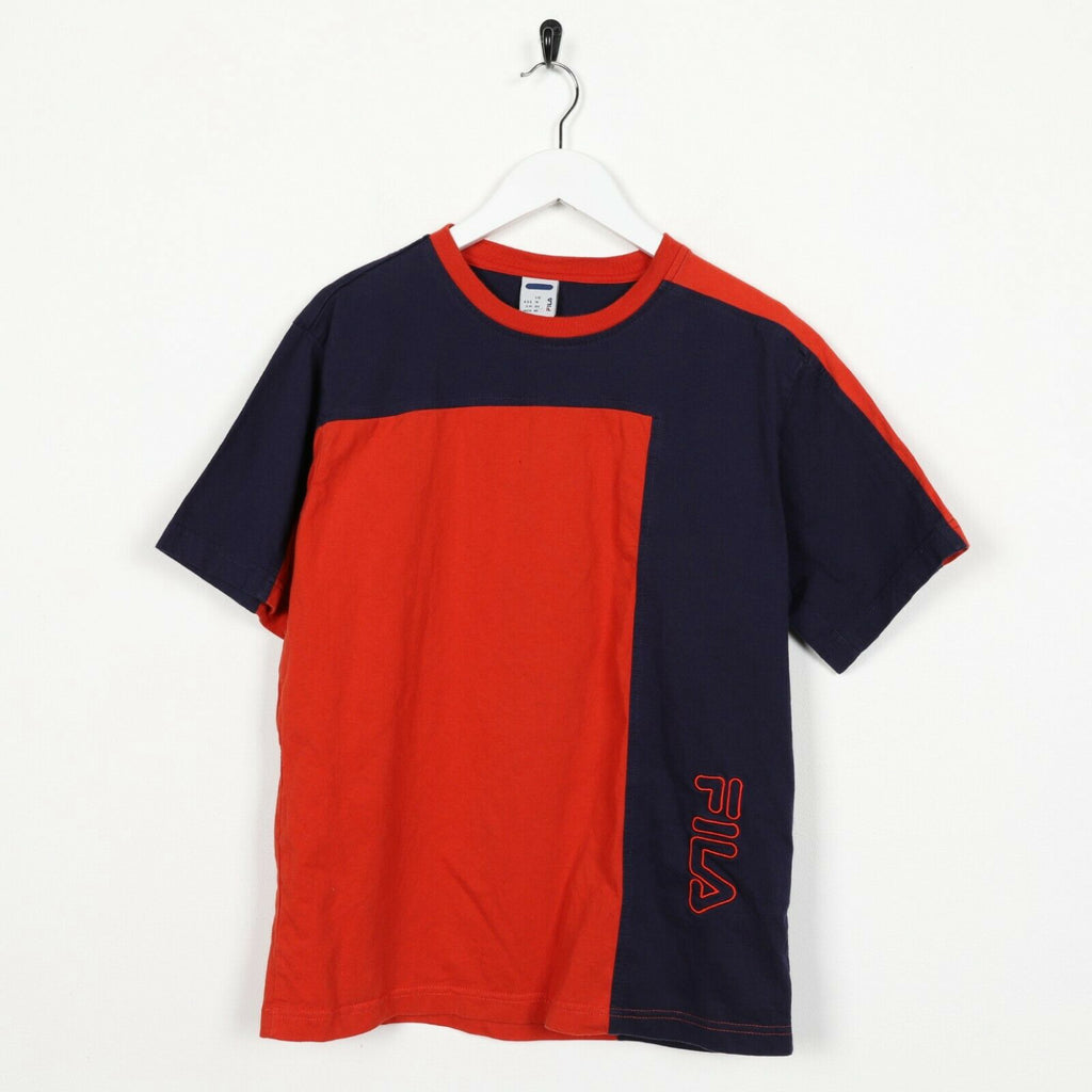 Vintage FILA Spell Out Logo T Shirt Tee Orange Blue | Small S