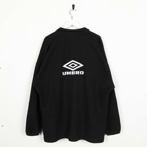 Vintage UMBRO Small Spell Out Tape Arm Zip Up Fleece Sweatshirt Black Large L