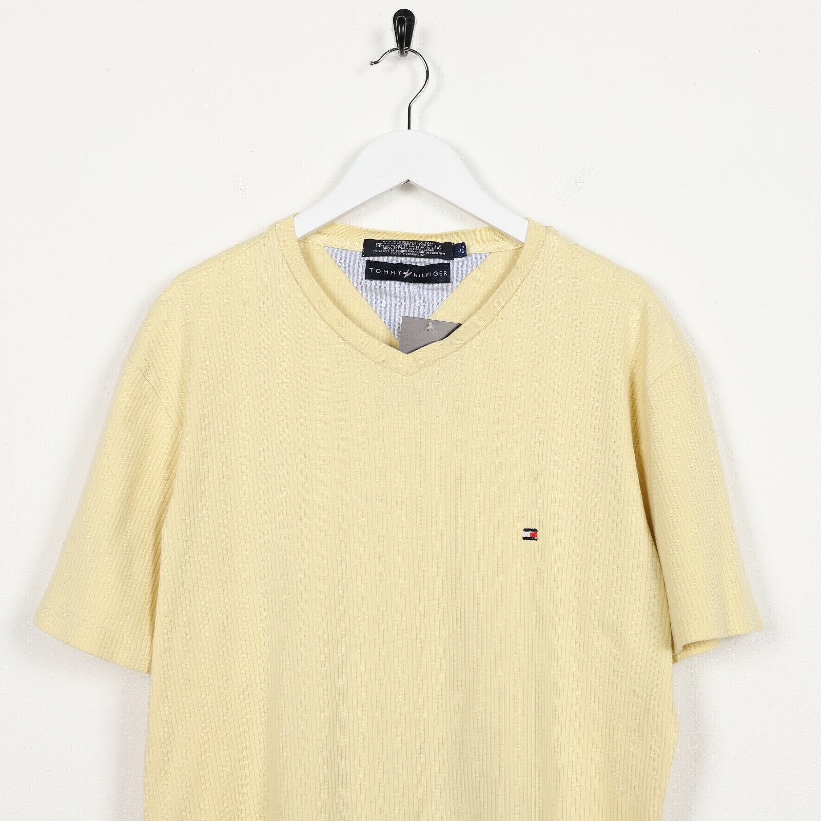 Vintage TOMMY HILFIGER Small Logo Ribbed T Shirt Tee Yellow Large L