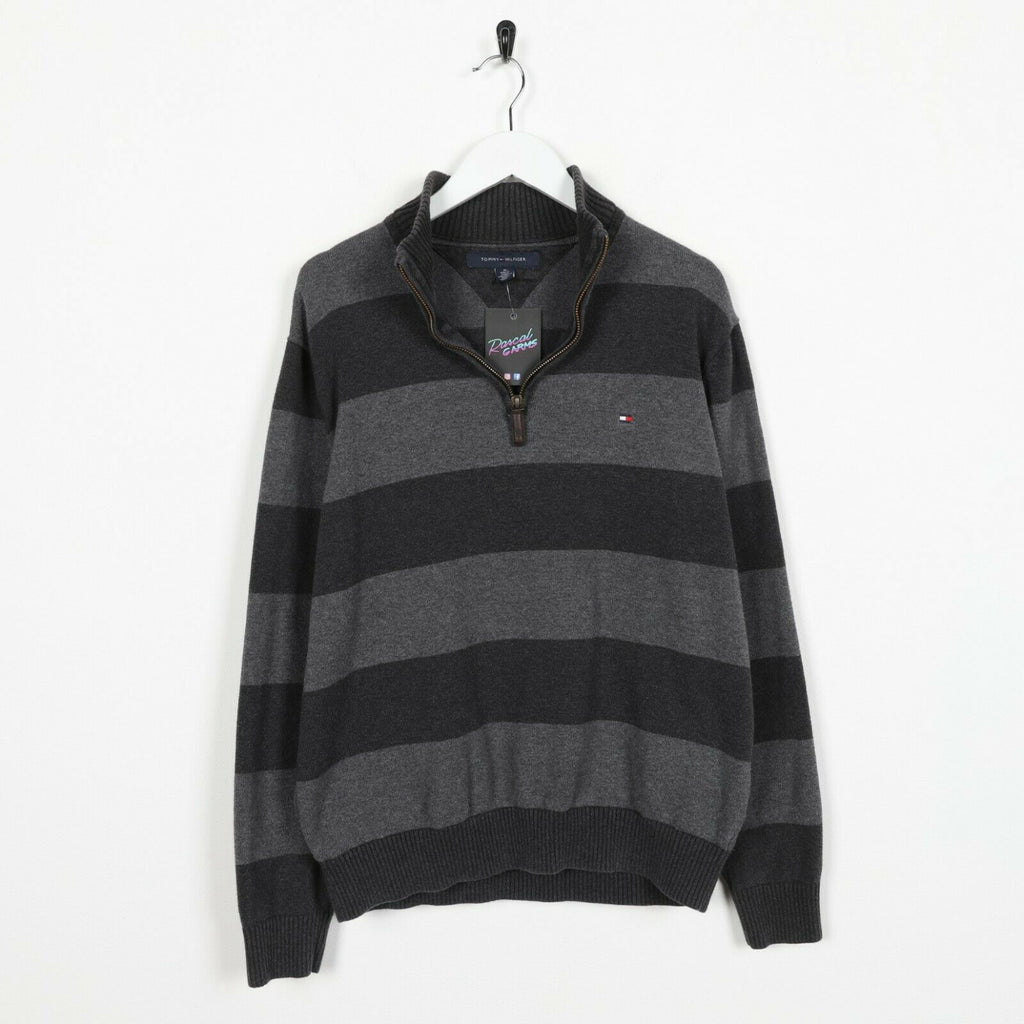 Vintage TOMMY HILFIGER Small Logo Striped 1/4 Zip Sweatshirt Jumper | Medium M