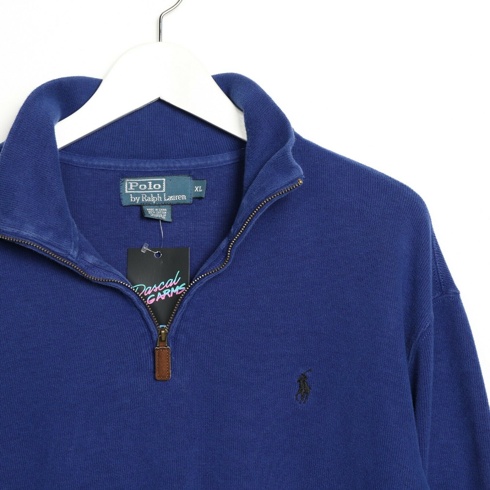 Vintage RALPH LAUREN Small Logo 1/4 Zip Sweatshirt Jumper Blue | XL