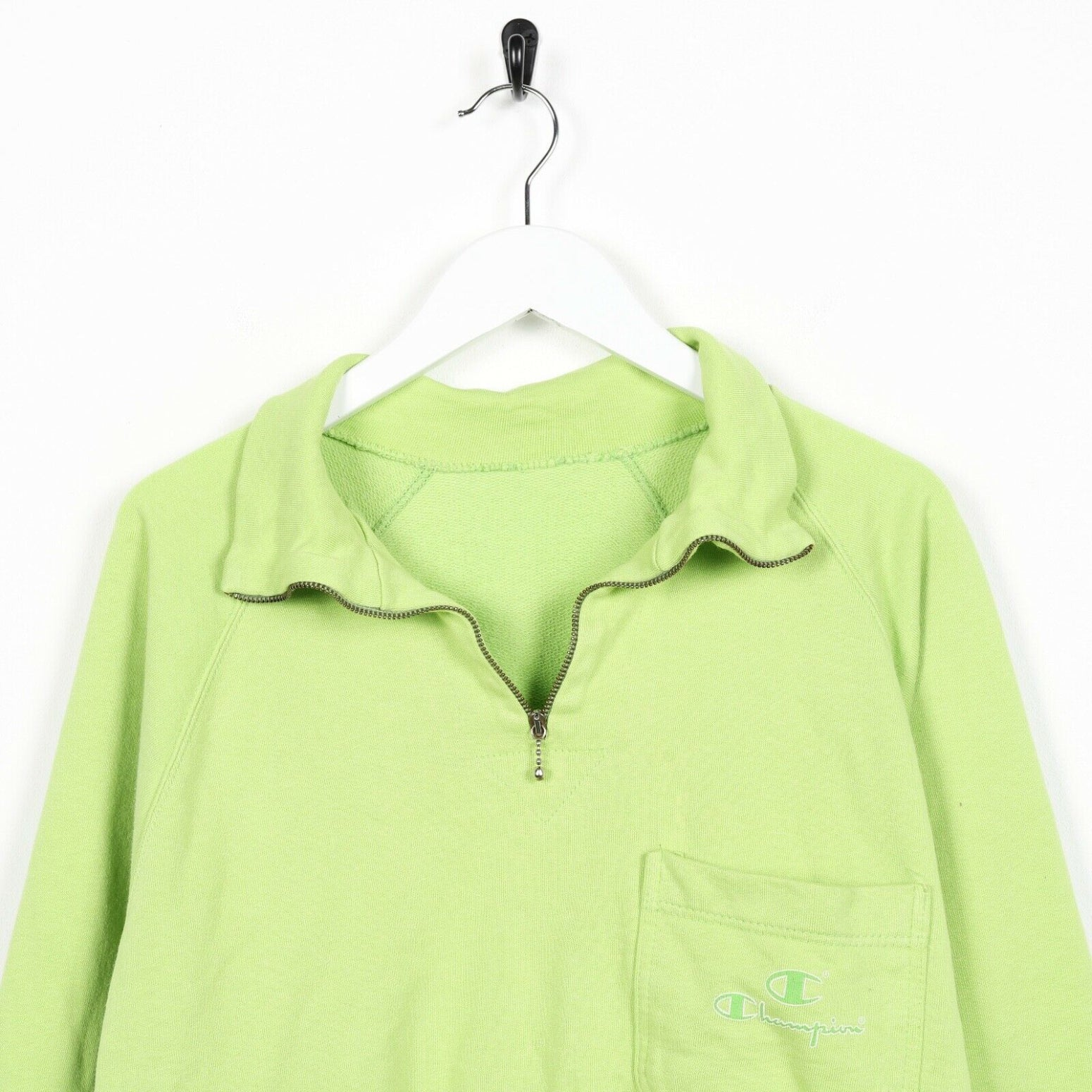 Vintage Women's CHAMPION Small Spell Out 1/4 Zip Sweatshirt Green small s