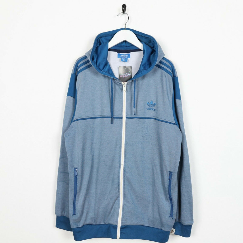 Vintage ADIDAS ORIGINALS Small Logo Zip Up Polyester Hoodie Blue | XL