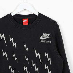 Vintage NIKE Small Logo Graphic Print Sweatshirt Jumper Black small S