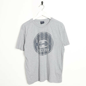 Vintage CHAMPION Big Graphic Logo T Shirt Tee Grey Medium M