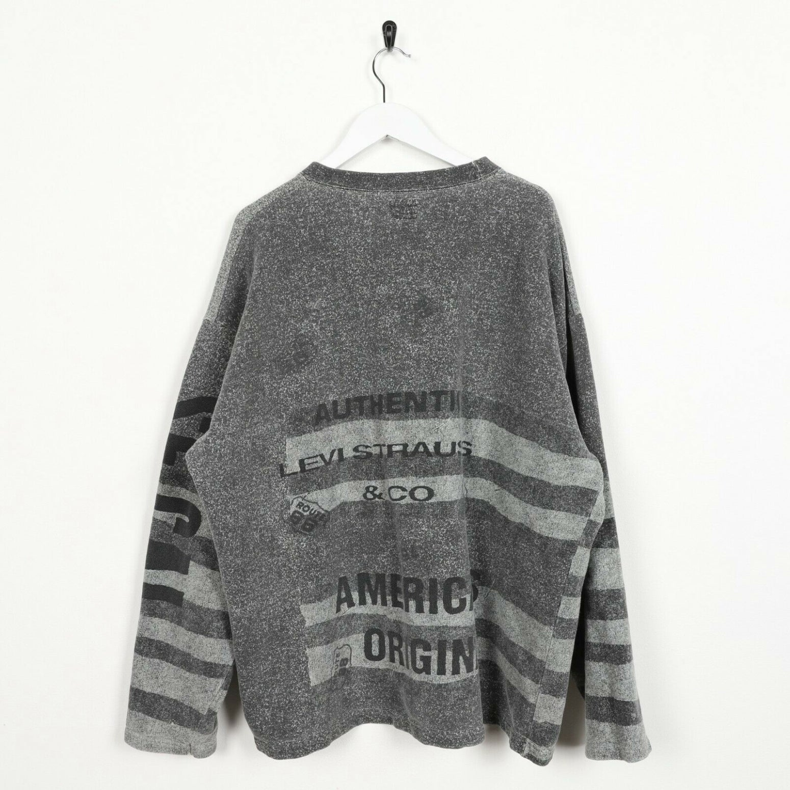 Vintage LEVI'S Big Graphic Logo Striped Sweatshirt Jumper Grey | XL