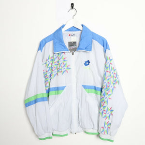 Vintage 90s LOTTO Soft Shell Windbreaker Festival Jacket White Small S