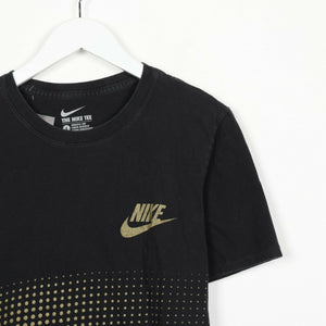 Vintage NIKE Back Logo Graphic Print T Shirt Tee Black Gold | Small S