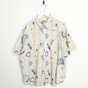 Vintage 90s ABSTRACT Short Sleeve Festival Party Shirt Beige | 2XL
