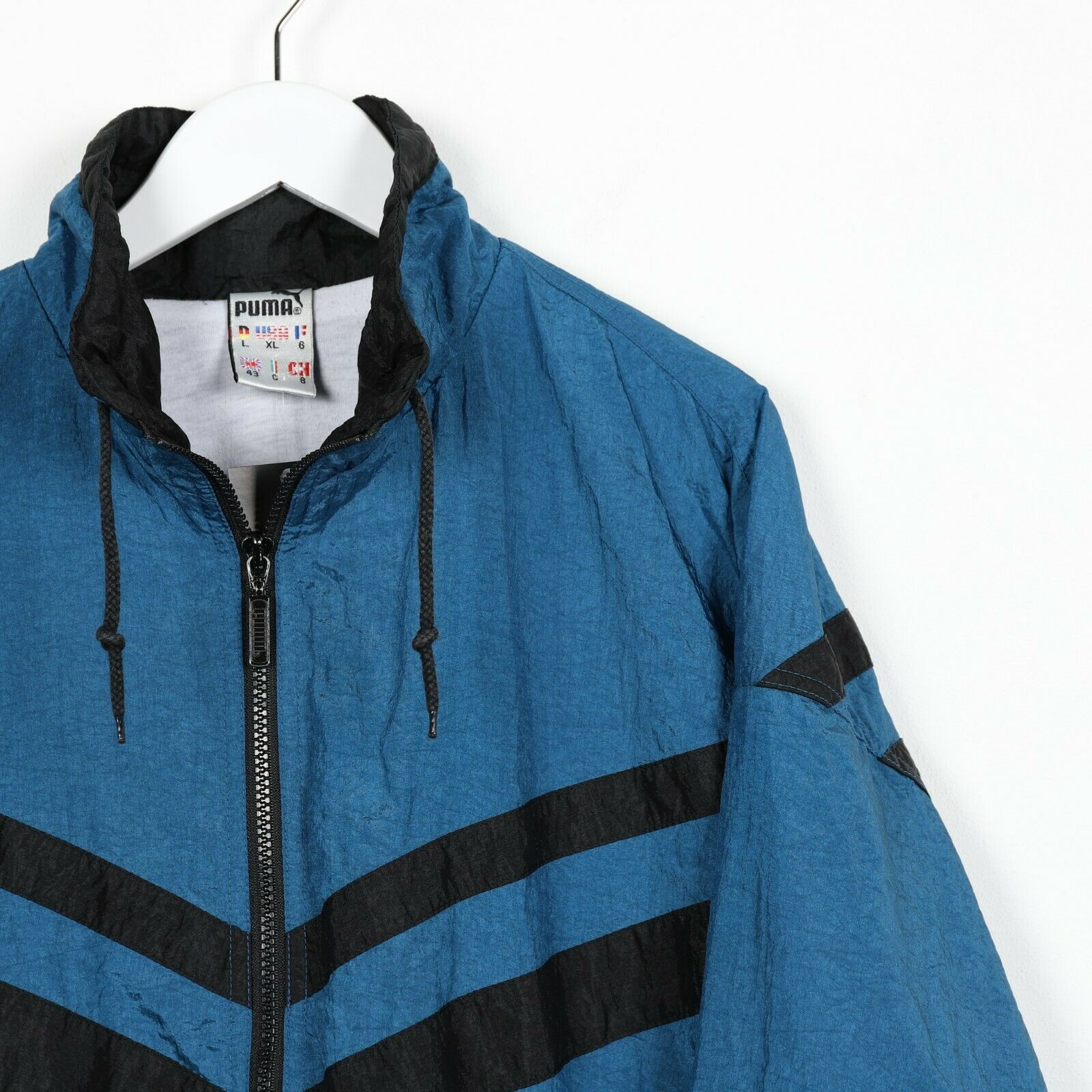 Vintage 90s PUMA Small Logo Soft Shell Windbreaker Jacket Blue | Large L