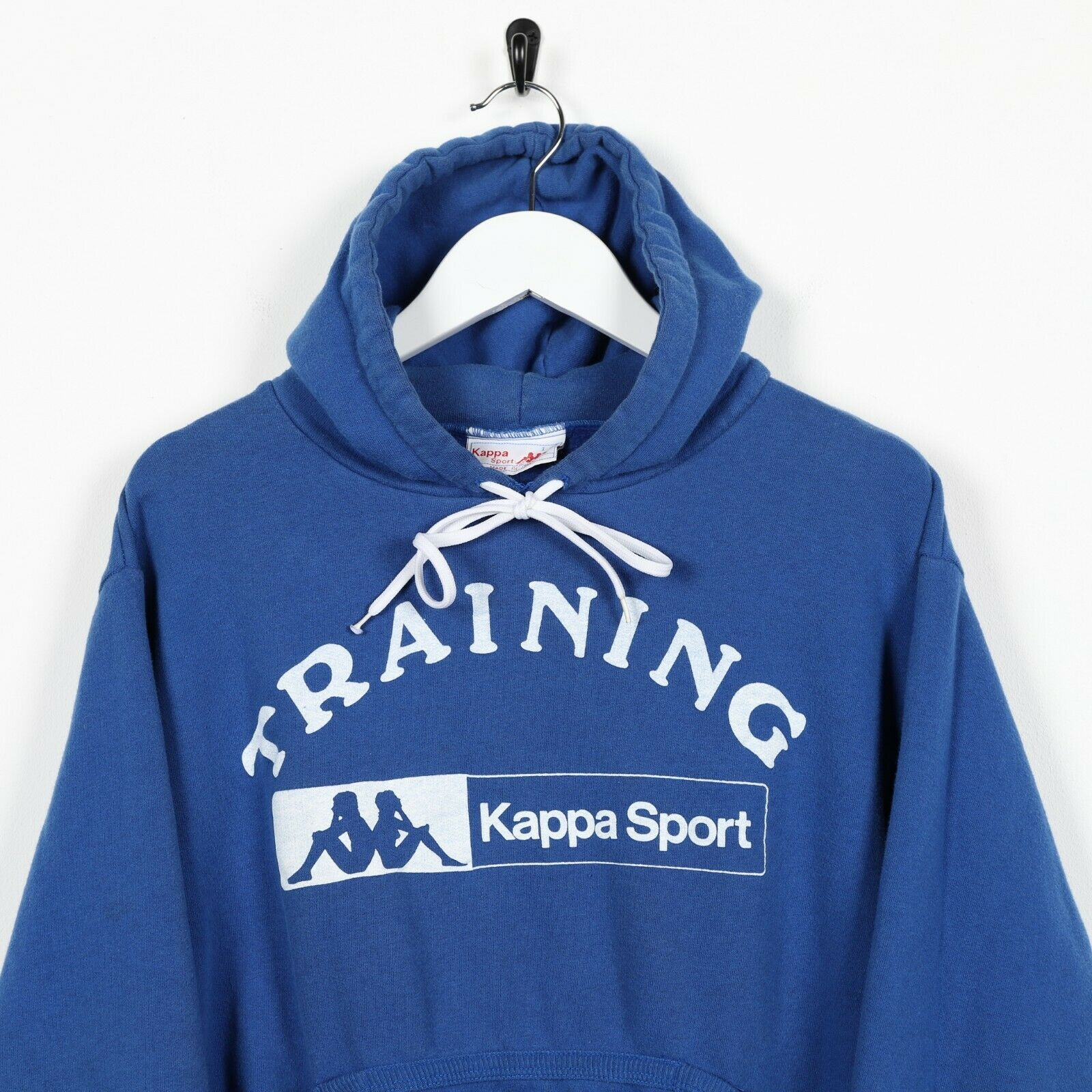 Vintage Women's 90s KAPPA Sport Big Logo Hoodie Sweatshirt Blue Medium M