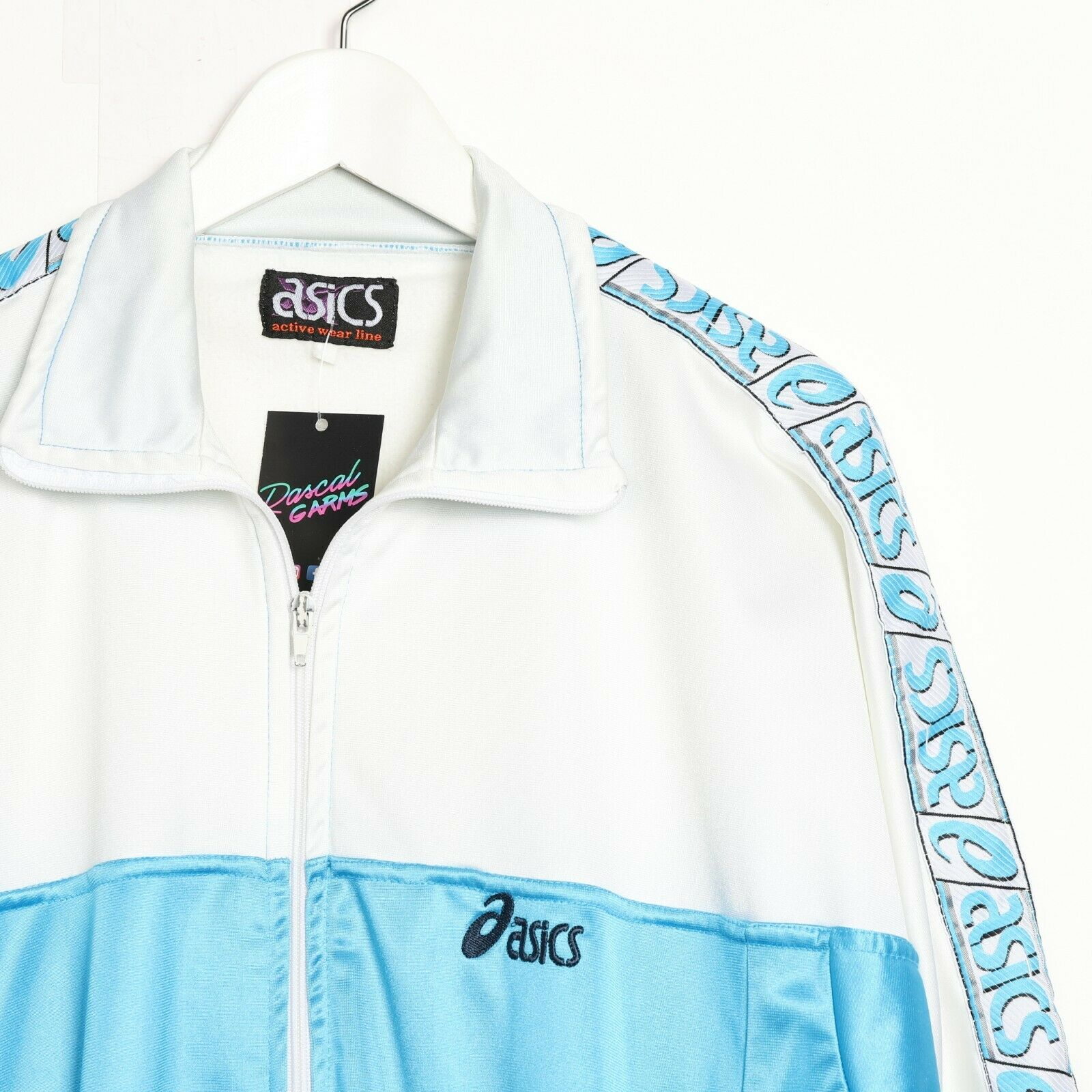 Vintage ASICS Tape Arm Small Logo Track Top Jacket White Blue small S