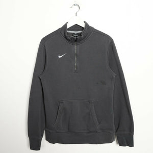 Vintage NIKE Small Logo 1/4 Zip Sweatshirt Jumper Grey small S