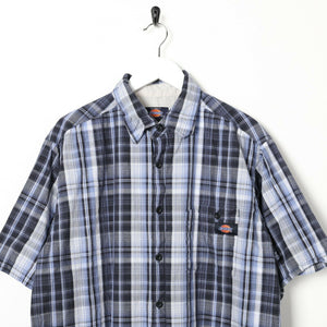 Vintage DICKIES Short Sleeve Pocket Logo Check Shirt Blue | Large L