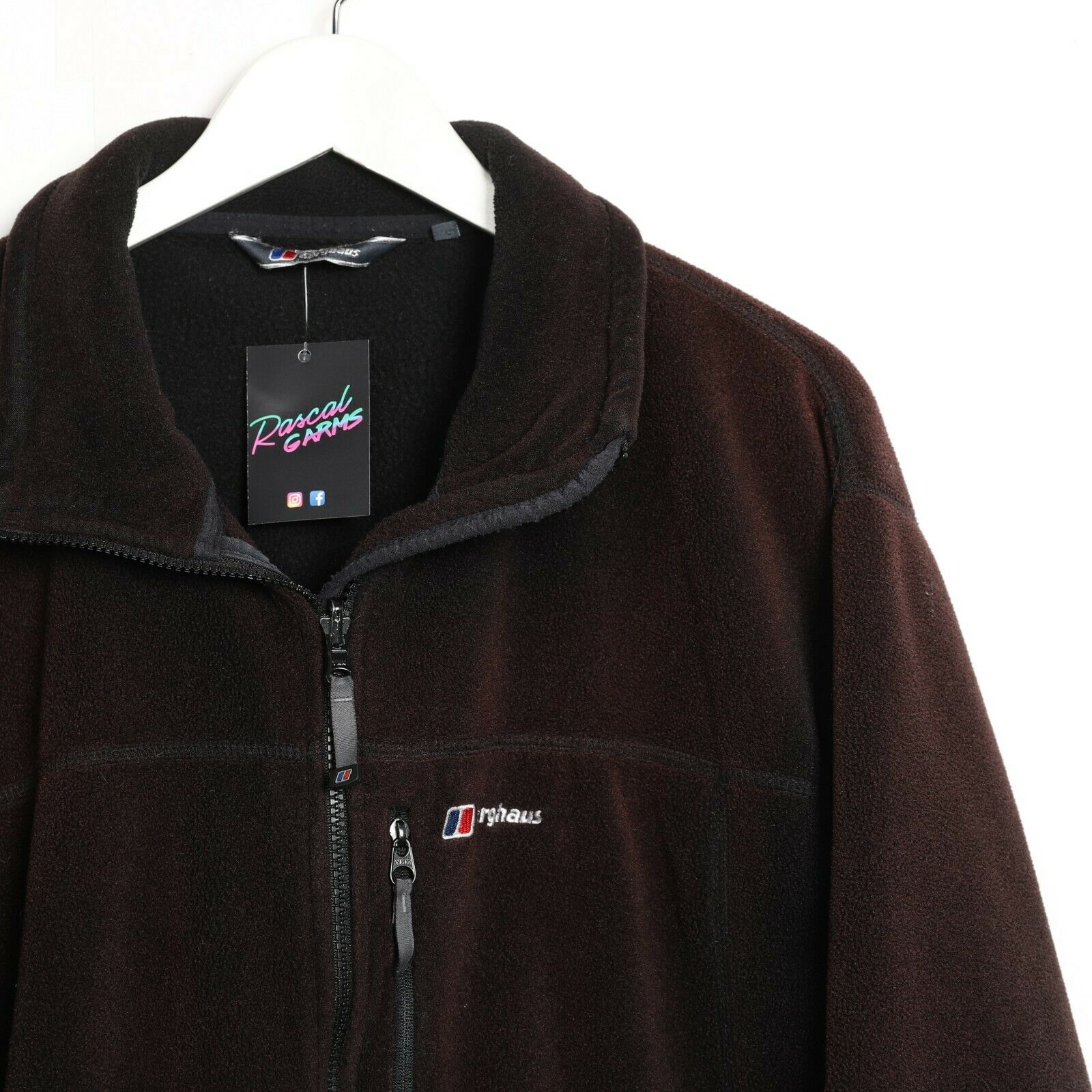 Vintage BERGHAUS Small Logo Zip Up Fleece Top Black Large L