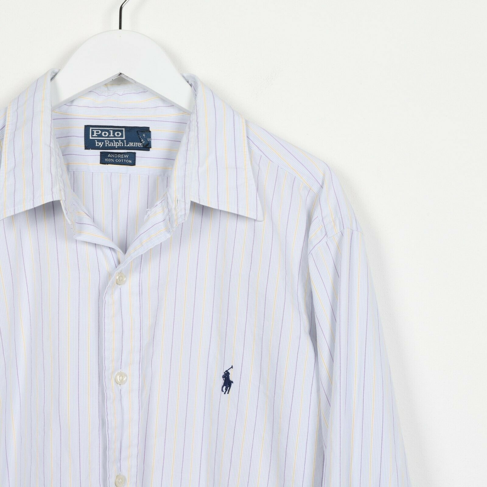 "Vintage RALPH LAUREN Small Logo Striped Shirt Light Blue | 17"" XL"