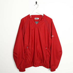Vintage 90s FILA Pullover Windbreaker Red | Medium M