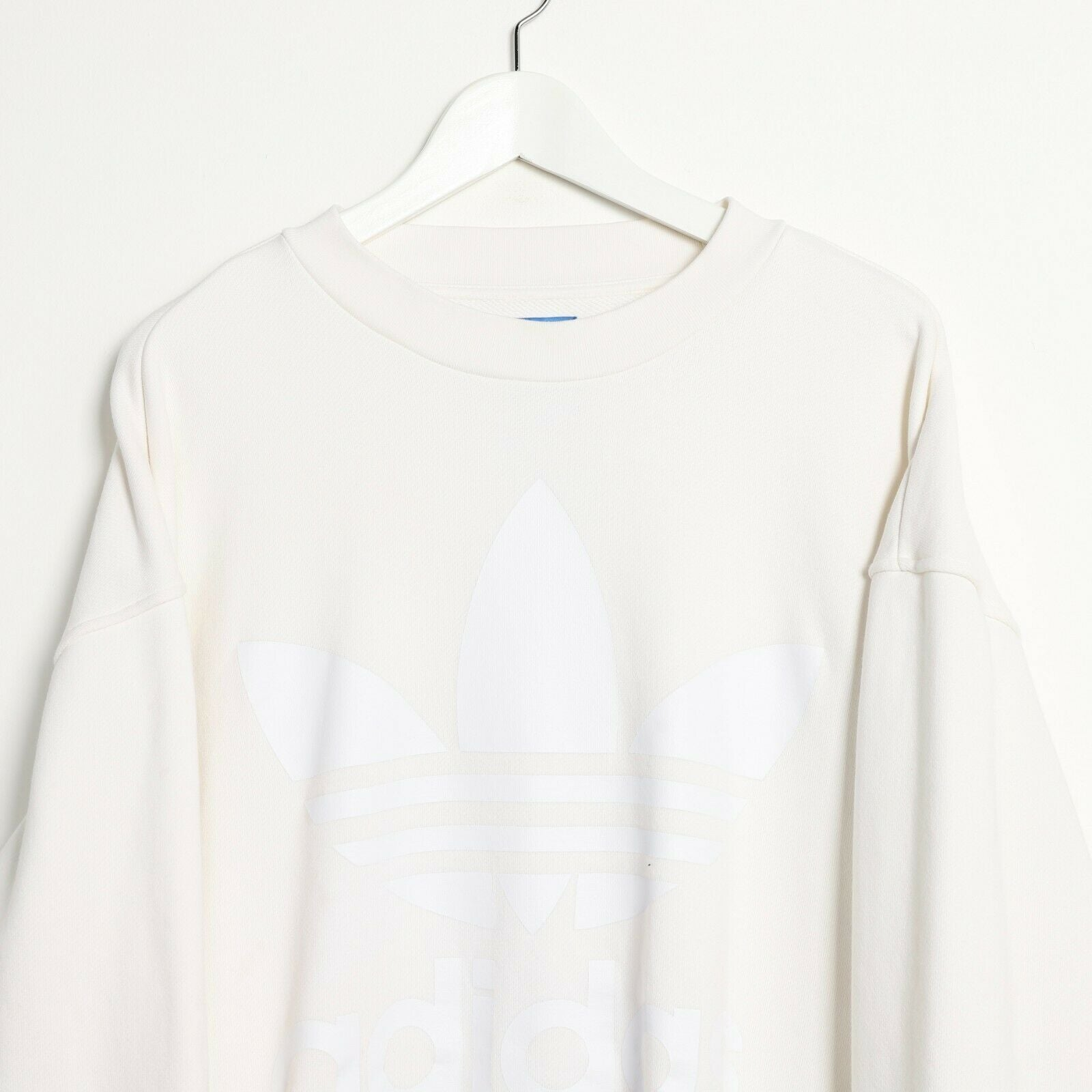 Vintage Women's ADIDAS ORIGINALS Oversize Big Logo Sweatshirt Cream | XS