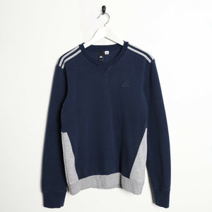 Vintage ADIDAS Small Logo Sweatshirt Jumper Navy Blue | Small S