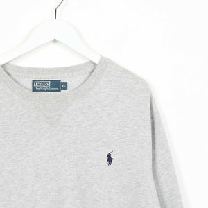 Vintage RALPH LAUREN Small Logo Sweatshirt Jumper Grey | XL