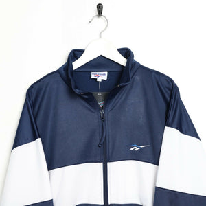 Vintage 90s REEBOK Small Logo Tracksuit Top Jacket Blue White | Large L