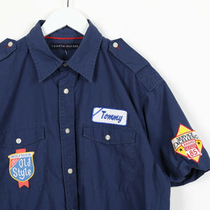 Vintage TOMMY HILFIGER Logo Short Sleeve Shirt Blue Medium M