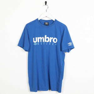 Vintage UMBRO Big Logo T Shirt Tee Blue Medium M