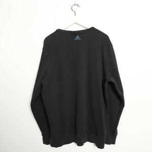 Vintage ADIDAS Big Spell Out Logo Sweatshirt Jumper Black | XL
