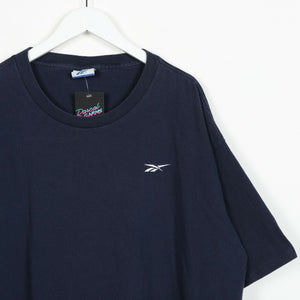 Vintage REEBOK Small Logo T Shirt Tee Navy Blue 2XL